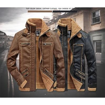 メンズ レザージャケット 冬  裏ポアジャケット レザーコート 革ジャケット 大きいサイズ PU バイクジャケット フェイクレザー 合成皮革 男 ビックサイズ