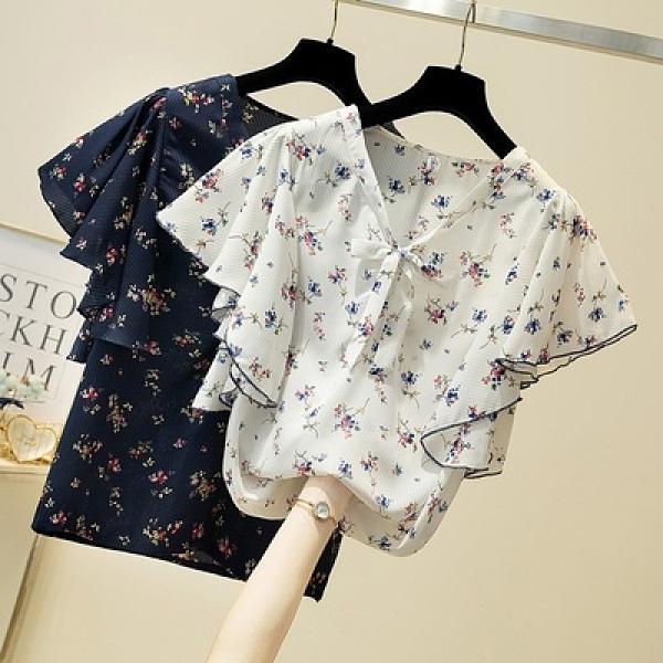 大碼雪紡上衣女 胖妹妹寬松顯瘦短袖打底衫 X-004MR26韓衣裳