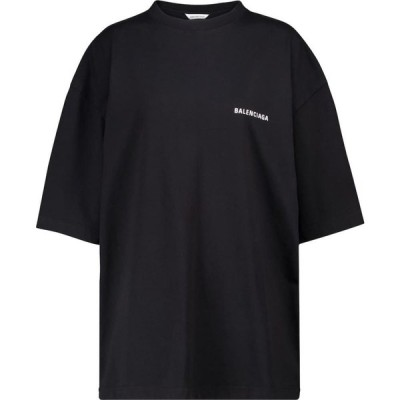 バレンシアガ Balenciaga レディース Tシャツ トップス logo cotton t-shirt Black