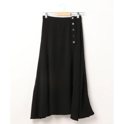 スカート 釦×裾スリットロングスカート *