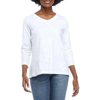 キム ロジャース レディース Tシャツ トップス Women's 3/4 Sleeve V-Neck Shirt