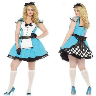 85355X 大きいサイズ アダルトアリスコスチューム 2点セット プラスサイズ 大人用 コスプレ衣装 /LEG AVENUEレッグアベニュー コスプレ・仮装・ハロウィン・女