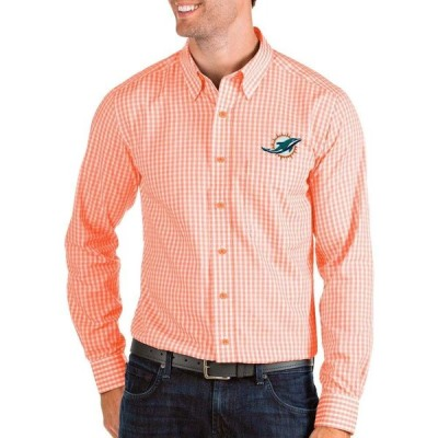 アンティグア Antigua メンズ シャツ トップス Miami Dolphins Structure Button Down Orange Dress Shirt