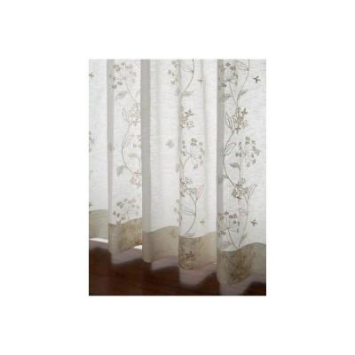 レースカーテン 草花刺繍カーテン ベージュS 1枚/100サイズ/OUL1203