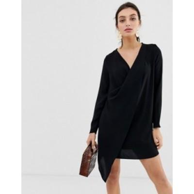 リバーアイランド レディース ワンピース トップス River Island swing dress with asymmetric hem in black Black