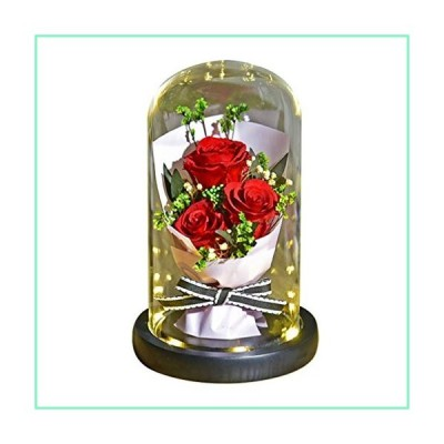Uonlytech Forever Rose with Glass Dome Birthday Gift Eternal Flower St Valentine Present for Her (Without Battery)【並行輸入品】