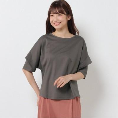 フリルスリーブTシャツ ブラウン M L