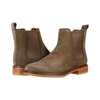Clarks クラークス レディース 女性用 シューズ 靴 ブーツ チェルシーブーツ アンクル Clarkdale Arlo - Dark Olive Suede
