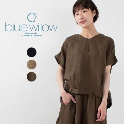 blue willow ブルーウィローリネンタックブラウス 021UP11231 ナチュラルファッション ナチュラル服 40代 50代 大人コーデ カジュアル シンプル