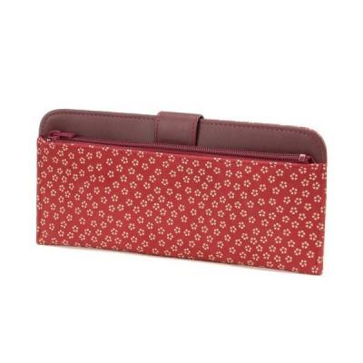 印傳屋 印伝 薄型財布 赤/白 小桜