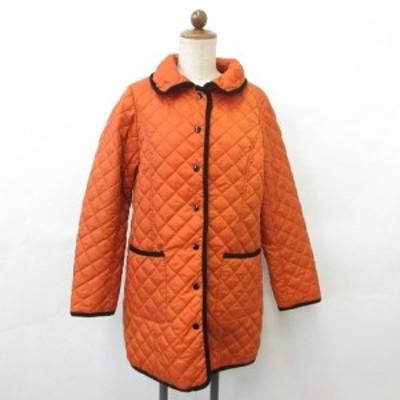 【中古】コート キルティングコート ステンカラー 中綿 別布 パイピング 前ドット釦明き ポケット オレンジ 黒 LL レディース