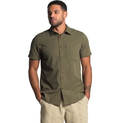 ノースフェイス シャツ メンズ トップス Short Sleeve Baytrail Pattern Shirt - Men's Burnt Olive Green