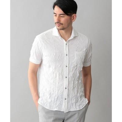 シャツ ブラウス ホリゾンタルカラーワッシャーシャツ