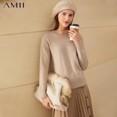 海外輸入アパレル Amiiミニマリズムファッション100%woolSweaters For Women Causal Solid Oneck Loos