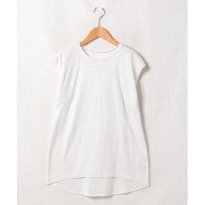 <LAPINE BLEUE(Women)/ラピーヌブルー>【大きいサイズ】【洗える】スーピマスムース ノースリーブTシャツ シロ【三越伊勢丹/公式】