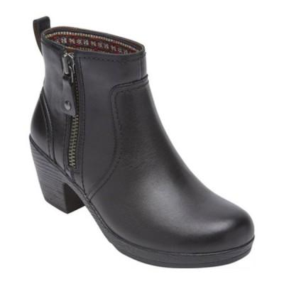ロックポート ブーツ&レインブーツ シューズ レディース Cobb Hill Presley Zip Ankle Bootie (Women's) Black Leather