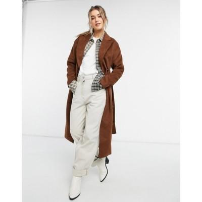 ニュールック レディース コート アウター New Look belted maxi coat in tan