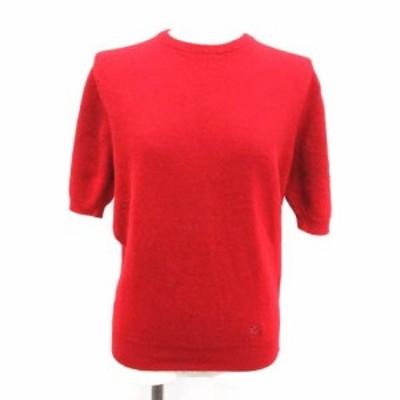 【中古】バーバリーズ Burberrys ニット セーター ヴィンテージ プルオーバー ウール 刺繍 半袖 38 M 赤 レディース