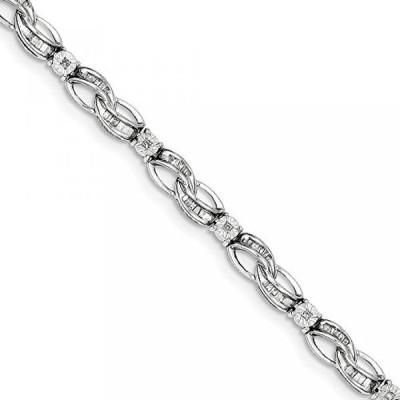 ミア コレクション ブレスレット 925 Sterling Silver (.75cttw) Baguette Diamond Fancy Bracelet (7in x 5mm)