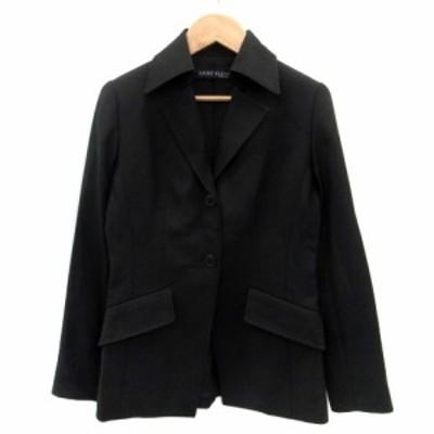 【中古】アンクライン ANNE KLEIN ジャケット テーラード シングル 総裏地 ミドル丈 ウール 5 黒 ブラック レディース