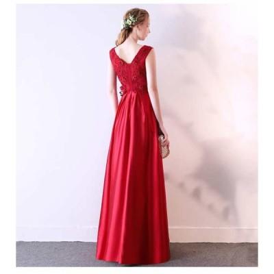 新作 ノースリーブ ロングドレス 演奏会 赤 結婚式 お呼ばれドレス 20代 30代 40代 二次会 大きいサイズ キャバ ステージ衣装 ドレス