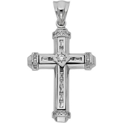 14k White Gold Religious Cross Pendant Height 39 MM Width 28 MM