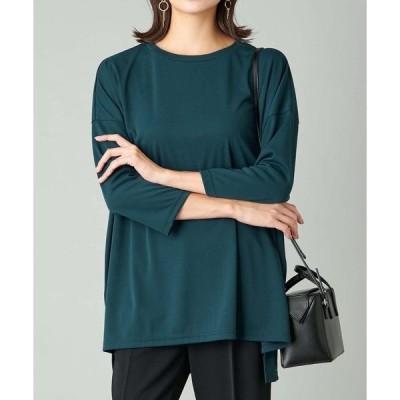 tシャツ Tシャツ 滑らかな素材でリラクシーな着心地 強撚スムース8分袖カットソー(ミドル丈)