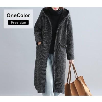 コート チェスターコート ロング丈 ロングコート 裏起毛 裏ボア フード 防寒 ゆったり 体型カバー