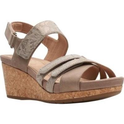 クラークス Clarks レディース サンダル・ミュール ウェッジソール シューズ・靴 Un Capri Walk Wedge Sandal Taupe Nubuck/Leather