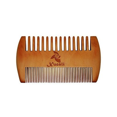 XUANLI Wooden Beard Brush Mustache Comb, Dual Action Fine & Coarse Teeth, T