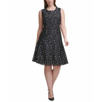 トミー ヒルフィガー レディース ワンピース トップス Plus Size Leopard Lace Dress Black/silver
