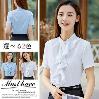 シャツレディース半袖ブラウストップス綿通勤OLシンプルきれいめVネックゆったり大きいサイズシャツ単品20代30代40代