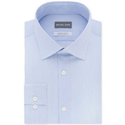 マイケルコース シャツ トップス メンズ Men's Classic/Regular Fit Airsoft Stretch Non-Iron Performance Blue Stripe Dress Shirt French Blue