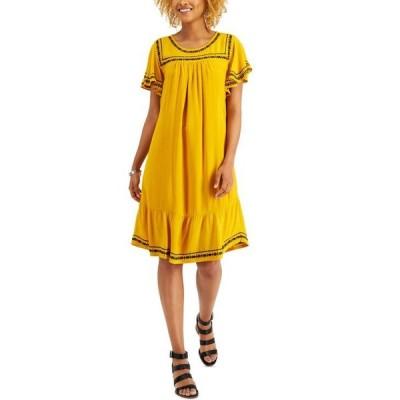 スタイルアンドコー レディース ワンピース トップス Embroidered Flutter-Sleeve Midi Dress