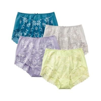 テンセルTM繊維。綿混ストレッチレーシー深ばきショーツ4枚組(M) スタンダードショーツ, Panties