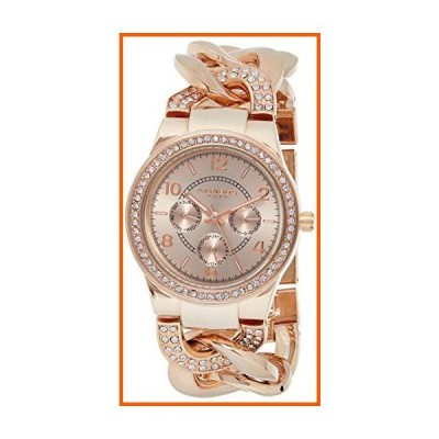 Akribos XXIV Women's Crystal Multifunction Watch - Genuine Crystals On Bezel and Bracelet- 3 Subdials, Day, Date and GMT On Twist Chain Link