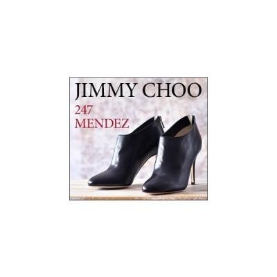 JIMMY CHOO 正規品 ジミーチュウ ブーツ ヒール 9cm ブーティー 黒 アンクル ブーツ 本革 ジミーチュー 靴 レディース 小さい サイズ 22cm MENDEZ