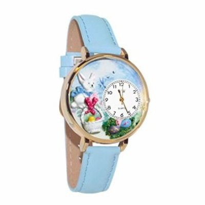 Easter Eggs Baby Blue Leather And Goldtone Watch #WG-G1220016