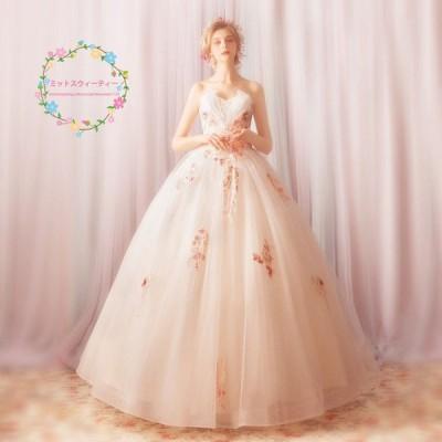 ウェディングドレス 白 安い 結婚式 花嫁 プリンセス ロングドレス ブライダル 調節 サイズ 二次会 パーティードレス 披露宴 イブニングドレス wedding dress