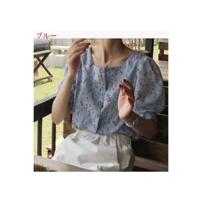 【送料無料】夏 韓国風 小さな花柄 スクエアカラー半袖 シャツ 女 何でも似合う ル   364331_A63223-4388286