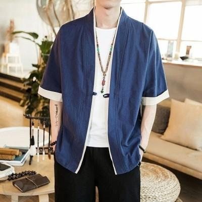 和服 メンズ 夏服 Tシャツ 半袖 無地 七分袖 パーカー おしゃれ 大きいサイズ カットソートップス フード付き インナー ゆったり カジュアル プルオーバー