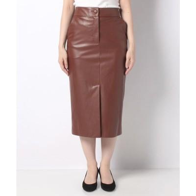 SISLEY フェイクレザーミディタイトスカート(ブラウン)