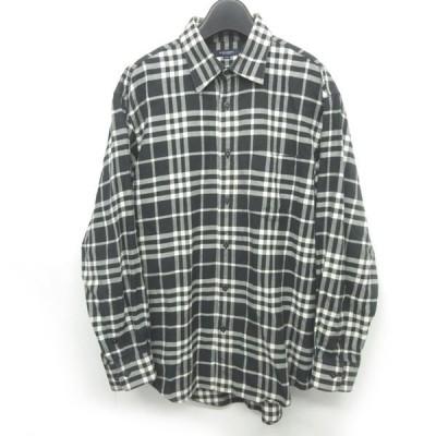 【中古】バーバリー ロンドン BURBERRY LONDON 美品 大きいサイズ フランネルシャツ ノバチェック アンゴラ混 コットン 長袖 黒 ベージュ 系 LL メンズ