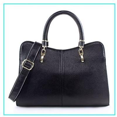 (新品)Yafeige Women Ladies Genuine Leather Tote Bag Handbag Shoulder Bag Top-handle Purse (Black)【並行輸入品】