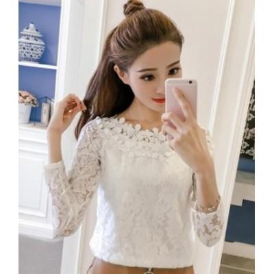 韓国 ファッション レディース トップス ブラウス 大きいサイズ 花柄 透け感 レース オルチャン 長袖 きれいめ 上品 大人可愛い