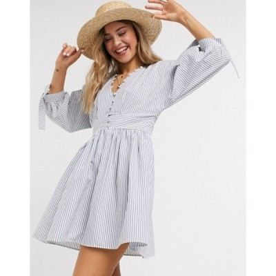 エイソス レディース ワンピース トップス ASOS DESIGN button neck mini smock dress with tie sleeves in navy white stripe