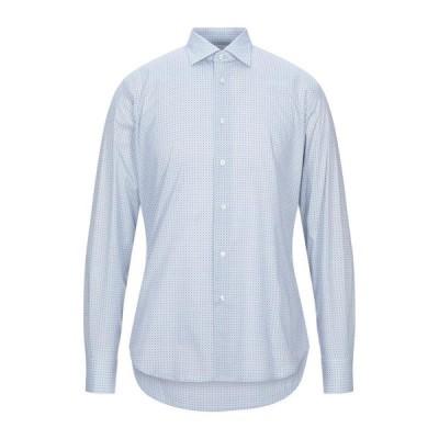 BARRYMOORE 柄入りシャツ ファッション  メンズファッション  トップス  シャツ、カジュアルシャツ  長袖 スカイブルー