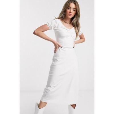 ジャガーストーン Jagger and Stone レディース ワンピース ミドル丈 Jagger & Stone midi bardot milkmaid dress with ruched front ホワイト