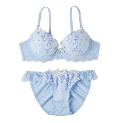 カラフルフラワー刺しゅうブラジャー・ショーツセット(C70/M) (ブラジャー&ショーツセット)Bras & Panties