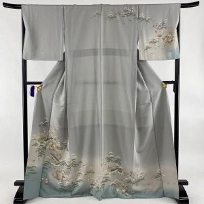 訪問着 美品 名品 落款 一つ紋 松竹梅 建物 ぼかし 青灰色 袷 身丈170cm 裄丈67cm M 正絹 中古